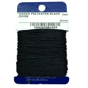 Waxed Polyester Thread - Black (25 Yd.)